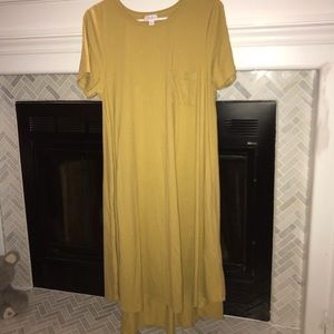 LuLaRoe Carly Solid Mustard Yellow Dress Size L